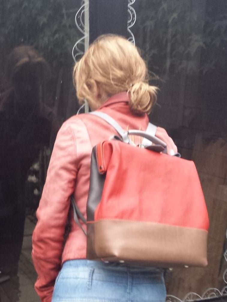 backpack laptop red brown