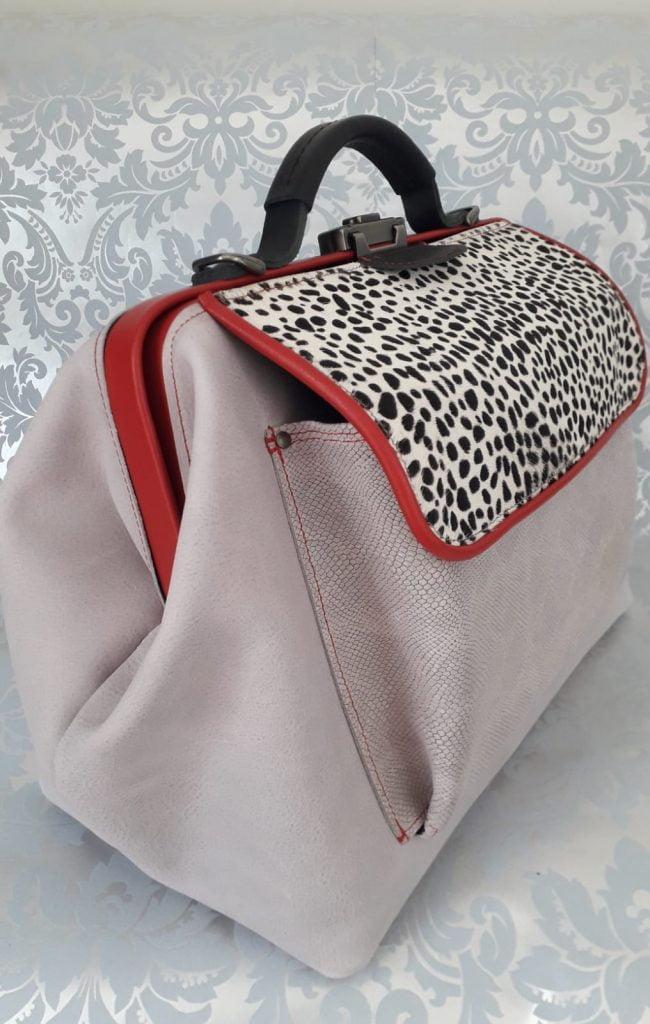 doctor's bag light gray red