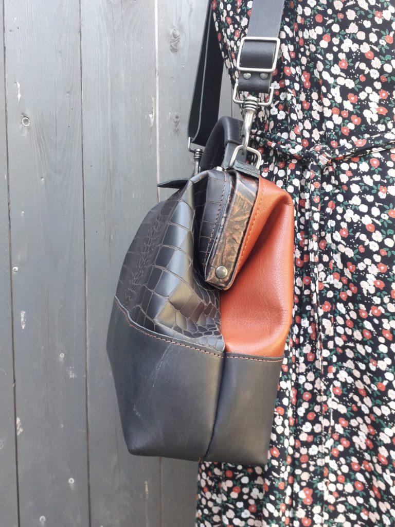leather doctor's bag handbag black brown