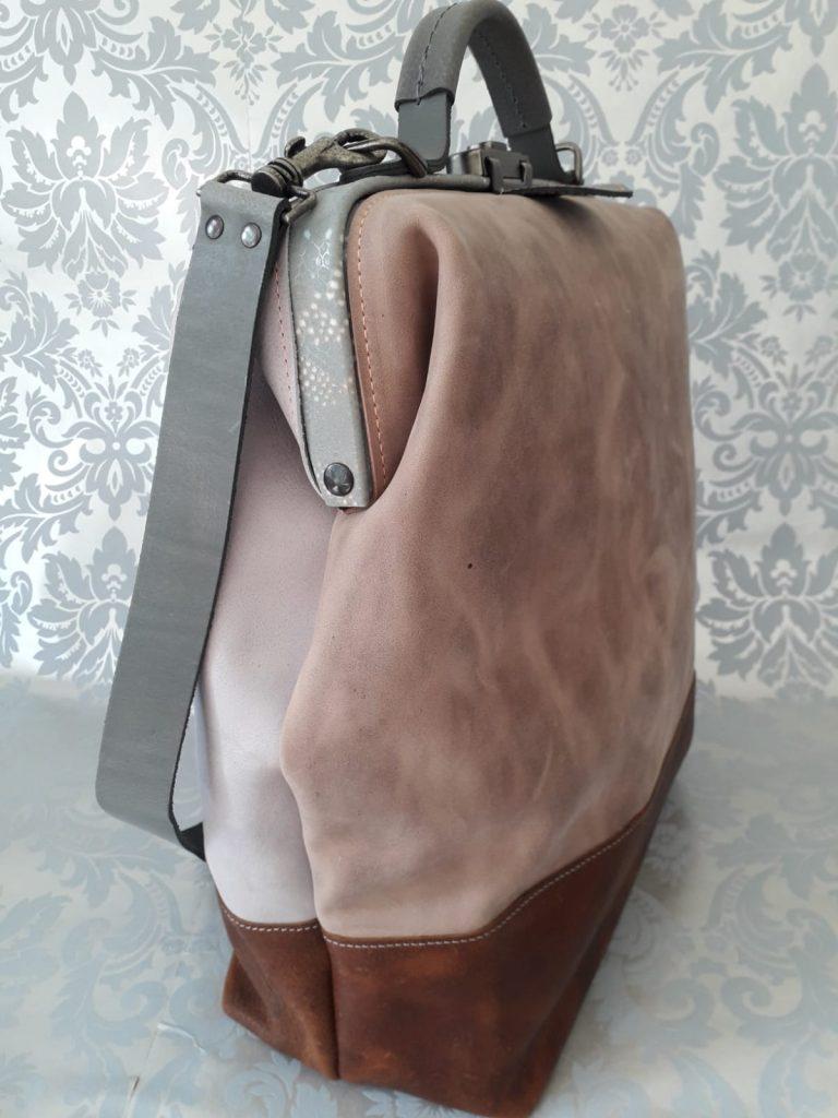 Leather ladies laptop bag high brown gray